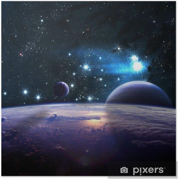 Poster Planeten over de nevels in de ruimte - Heelal