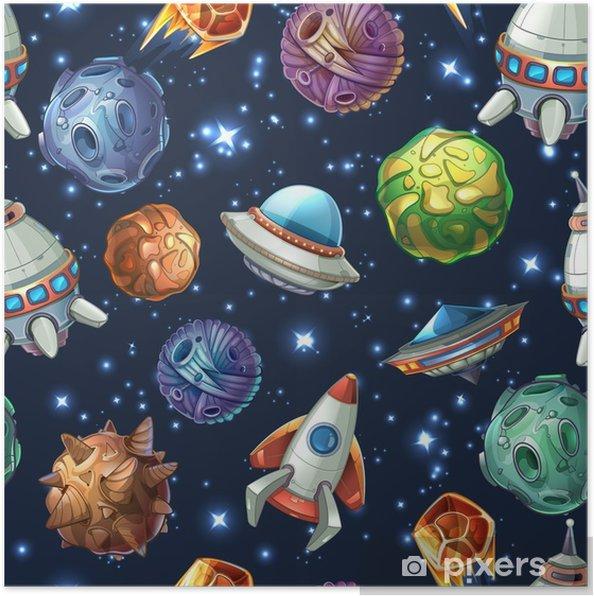 Poster Planetenruimteplaneeten en ruimteschepen. vector naadloze patroon - Grafische Bronnen