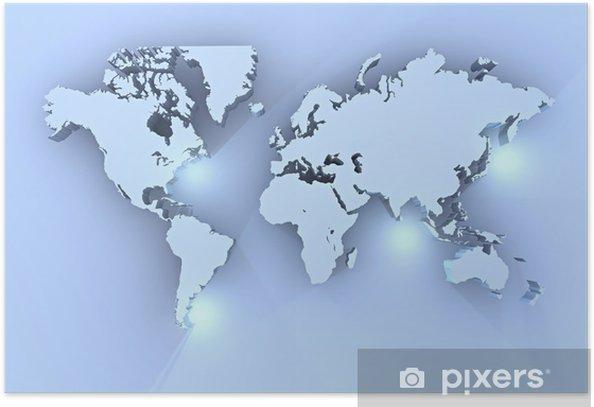 Cartina Mondo Immagini.Planisfero Mondo 3d Azzurro Cartina Poster Pixers We Live To Change