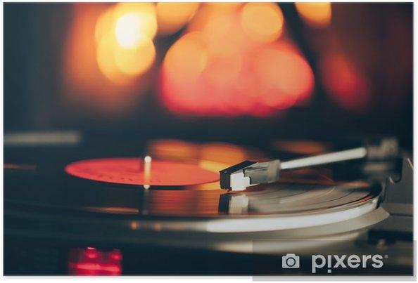Poster Platine vinyle avec disque vinyle lp contre le feu de fond de feu - Passe-temps et loisirs