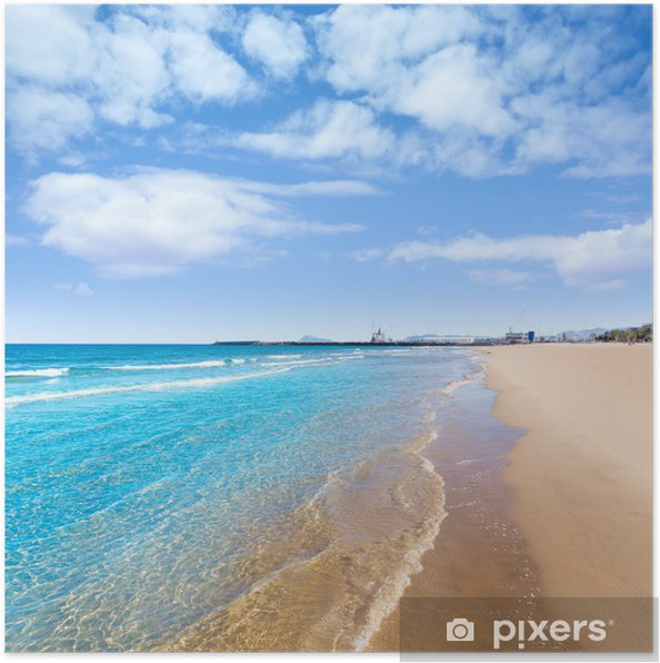 Póster Playa mediterránea en Gandia Valencia España - Vacaciones