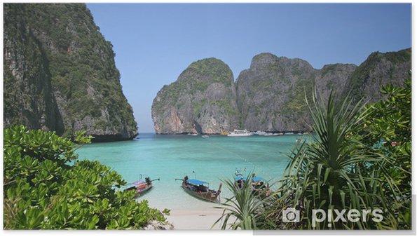 Póster Playa tropical en la Bahía de Maya, el sur de Tailandia - Vacaciones