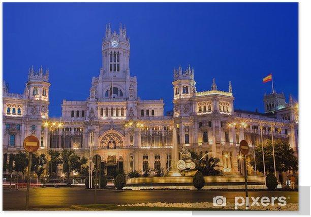 Poster Plaza de Cibeles, la nuit, Madrid, Espagne - Villes européennes