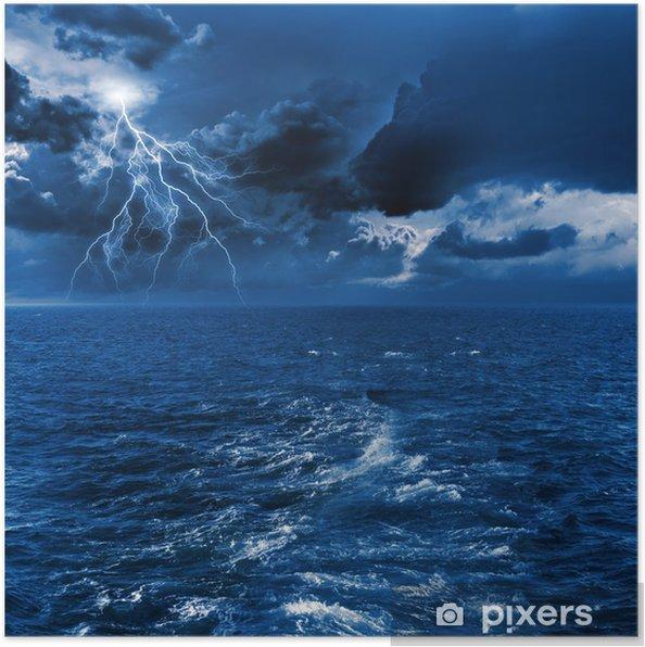 Poster Pluie en mer - Vie