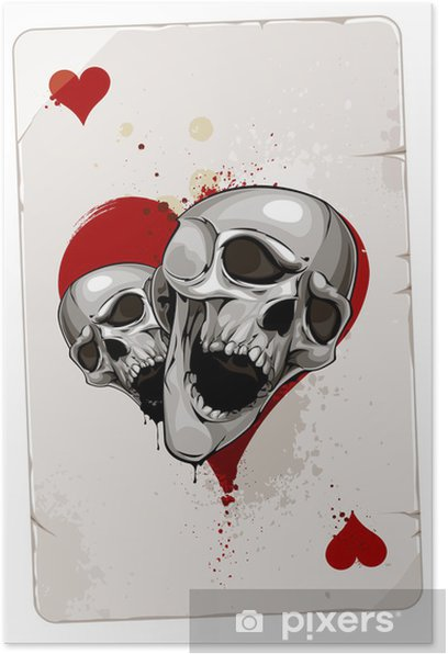 Poker card with skulls Poster - Abstract