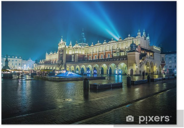 Poland, Krakow. Market Square at night. Poster -