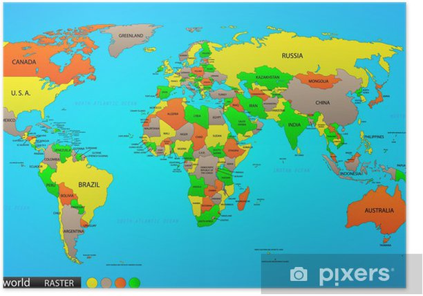 political world map poster pixers    change