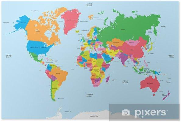 Poster Politieke kaart van de wereld vector - Thema's