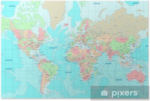 Poster Politieke wereldkaart - Thema's