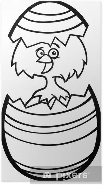 Póster Pollo en huevo de Pascua de dibujos animados para colorear ...