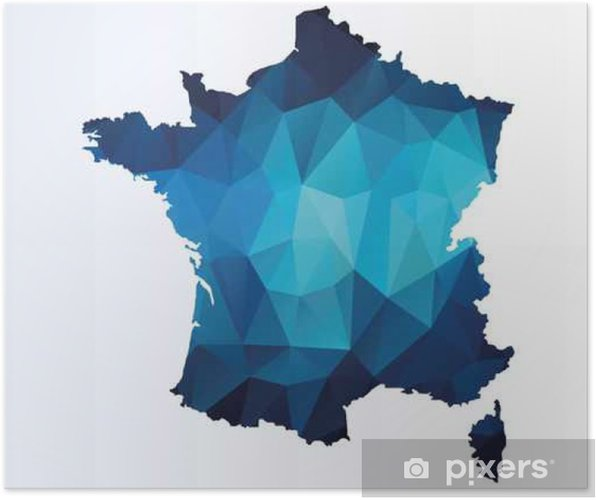Map Of France Poster.Polygonal Map Of France Poster