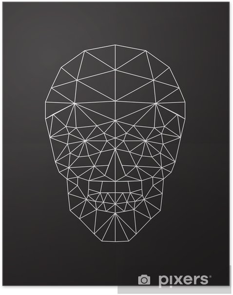 polygonal vector skull Poster - Graphic Resources