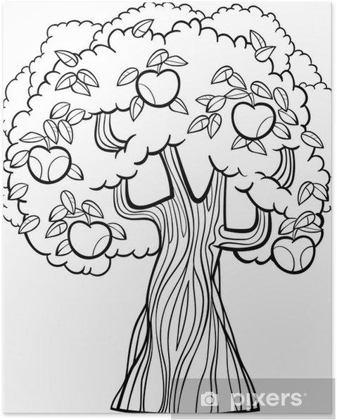 Coloriage Arbre Pommier.Poster Pomme De Bande Dessinee D Arbre Pour Livre De Coloriage