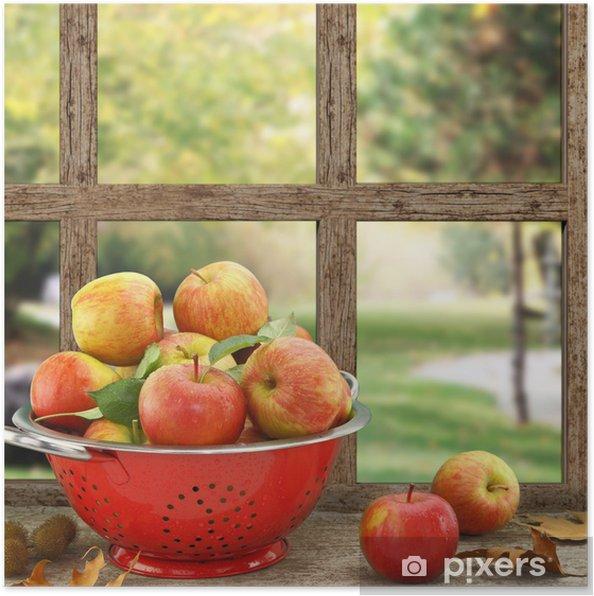 Poster pommes dans une passoire sur la fen tre en bois Changer une fenetre bois en renovation