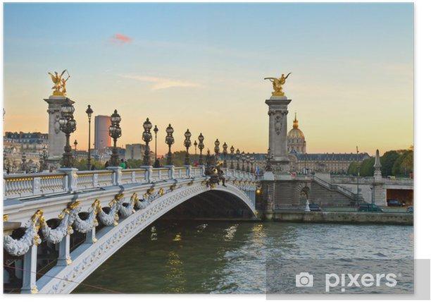 Poster Pont Alexandre-III au coucher du soleil - Monuments