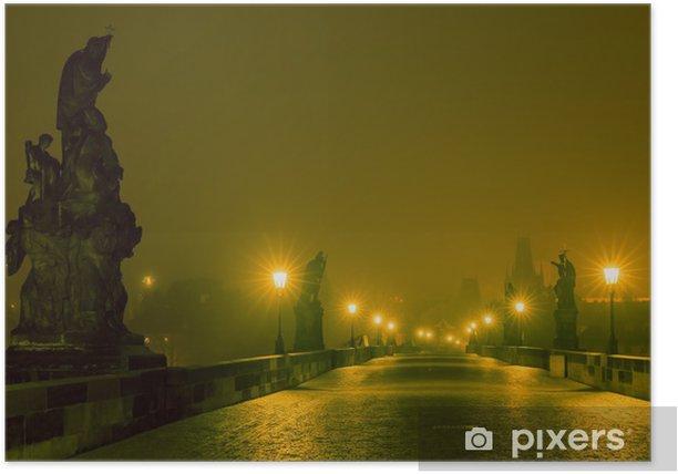 Poster Pont Charles à Prague (République tchèque) à l'éclairage de nuit - Villes européennes