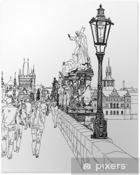 Poster Pont Charles - Prague, République tchèque - un croquis vecteur - Prague