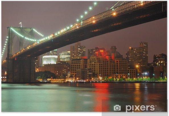Poster Pont de Brooklyn au crépuscule - Brooklyn Bridge