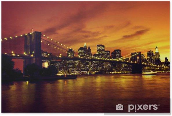 Poster Pont de Brooklyn et Manhattan au coucher du soleil, New York -