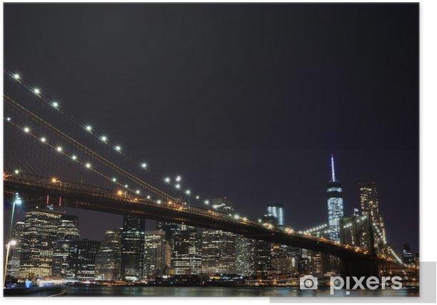 Poster Pont de Brooklyn et Manhattan Skyline At Night, New York City - Brooklyn Bridge