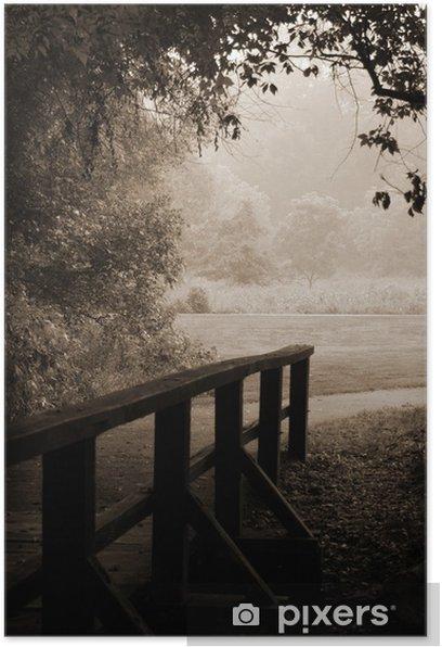 Poster Pont et le chemin en bois sépia - Réussite