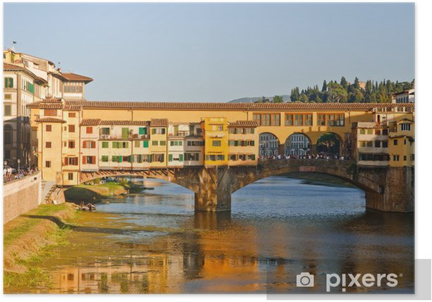 Poster Ponte Vecchio sur l'Arno rivière Florence Italie - Europe