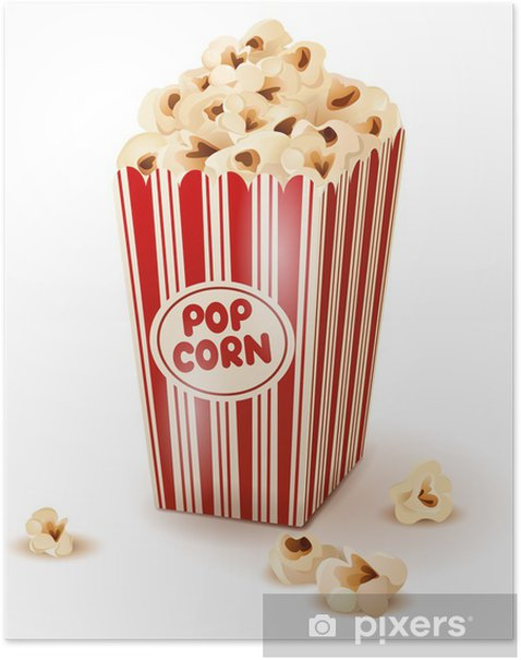 Popcorn in paper box. Poster - Meals