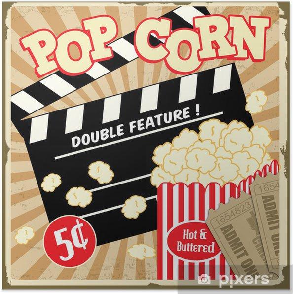 Poster Popcorn med kläpp ombord och biobiljetter vintage affisch - Teman