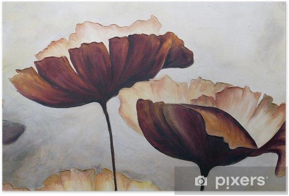 Poster Poppy abstract schilderij - Hobby's en Vrije tijd