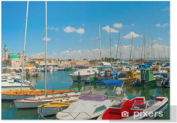 Poster Port d'Acre, en Israël. avec des bateaux et de la vieille ville - Vacances