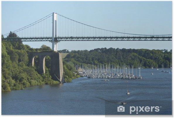 Port De La Roche Bernard Sous Le Pont Suspendu Poster Pixers We
