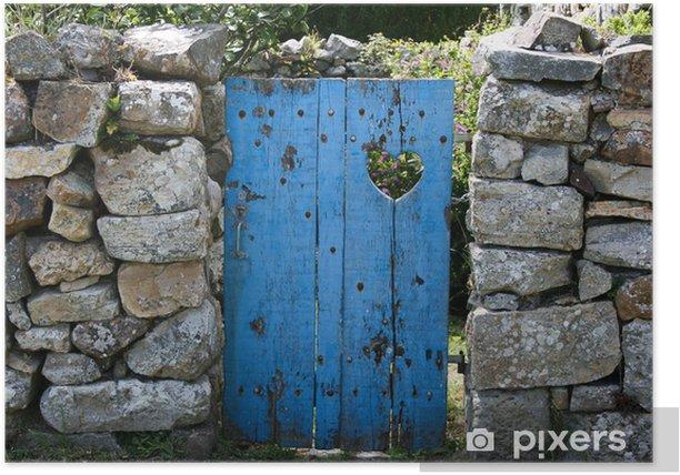 Poster Porte avec coeur - Bonheur