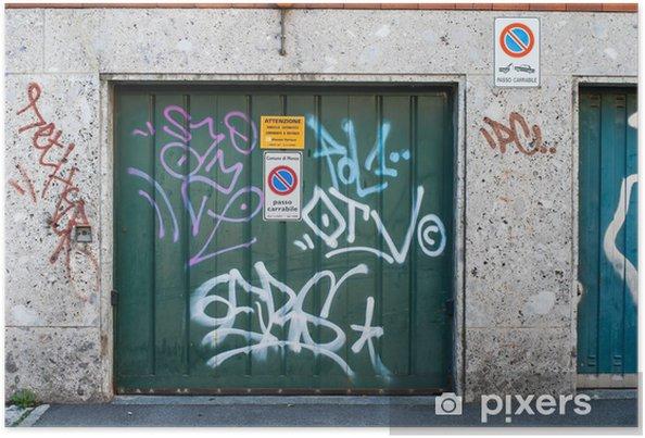 Poster Porte De Garage Vert Avec Des Graffitis Pixers Nous