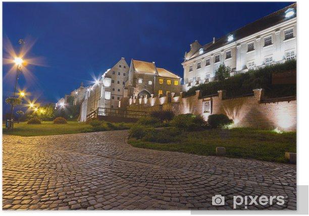 Poster Porte de l'eau dans Grudziadz ville la nuit, de la Pologne - Thèmes