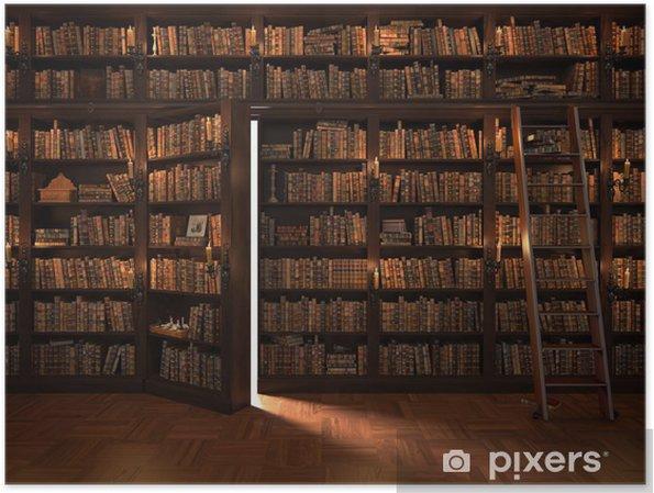 Poster Porte secrète dans la bibliothèque. bibliothèque Mysterious avec l'allumage des bougies. Avec des trucs vintage. - Education