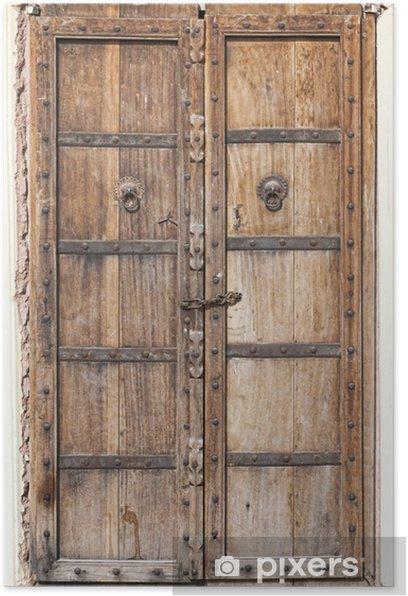 Poster Porte vieux bois - Asie