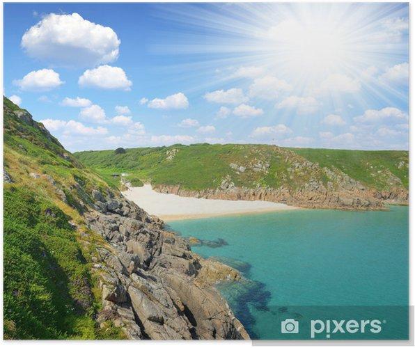 Poster Porthcurno plage Cornwall Royaume-Uni - Europe