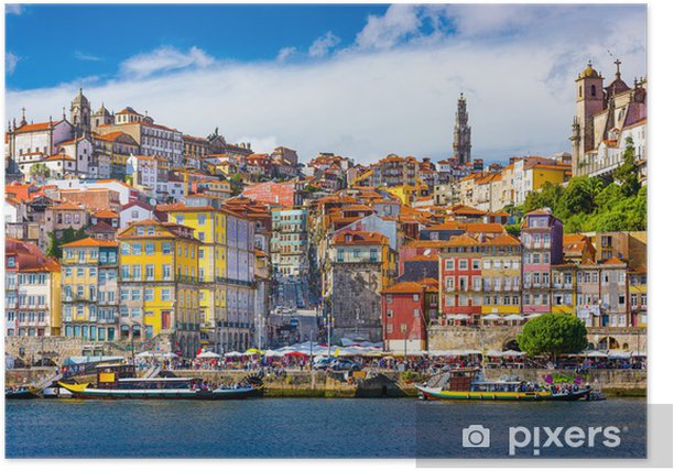 Porto, Portugal Old City Skyline on the Douro River Poster - iStaging