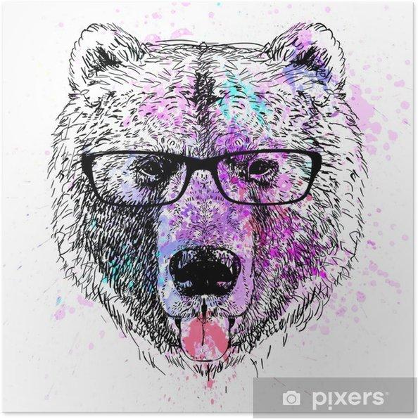 Poster Portrait coloré de caractère ours - Style de vie