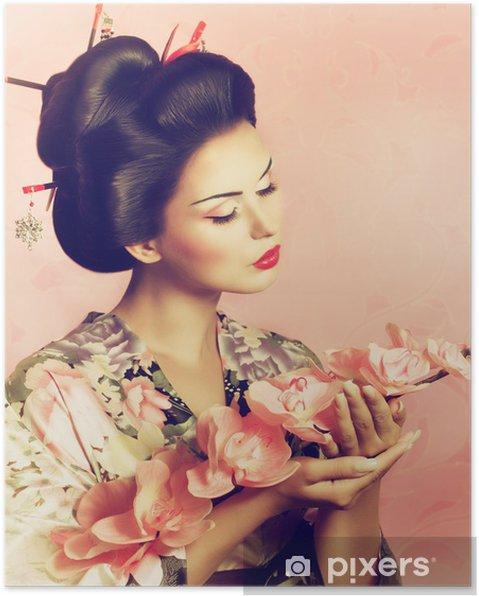 Poster Portrait D Une Femme De Geisha Japonaise Pixers Nous