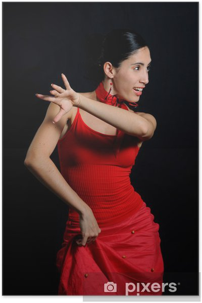 Poster Portrait de danseuse de flamenco passionné isolé sur noir - Thèmes