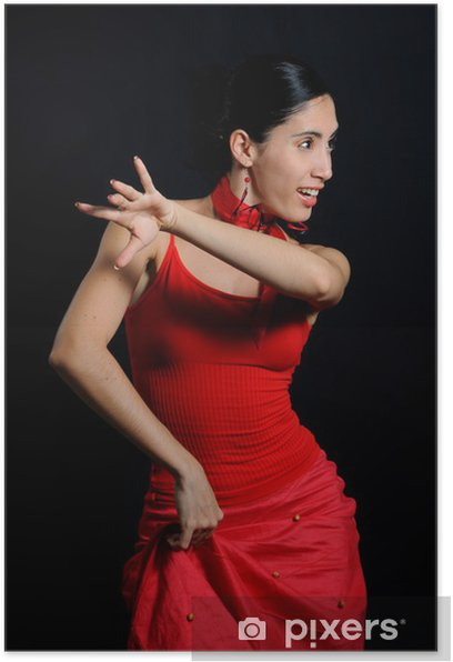 Portrait of passionate flamenco dancer isolated on black Poster - Themes