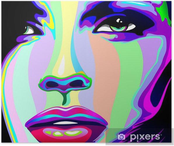 Poster Portrait Psychedelic Rainbow-fille de visage de fille -