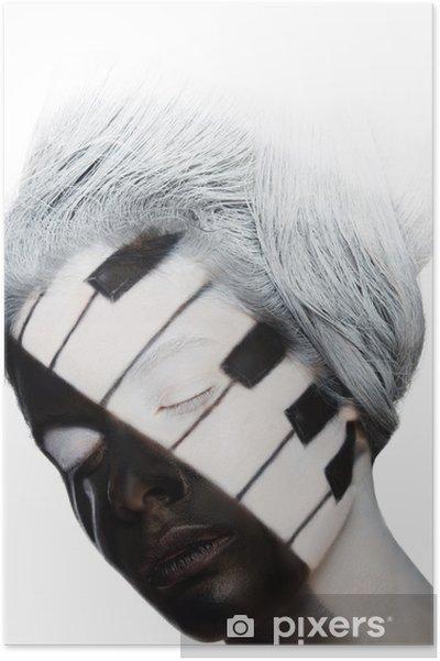 Poster Portrait vertical de l'art face à la forme que le piano - Thèmes