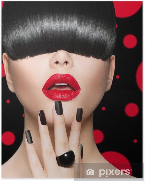 Poster Portret model Meisje met trendy kapsel, make-up en manicure - Mode