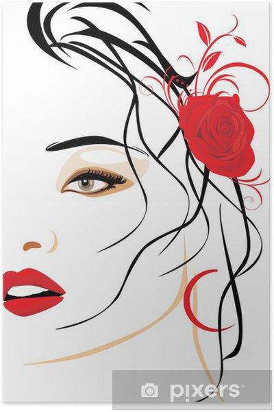Poster Portret van mooie vrouw met rode roos in het haar - Thema's