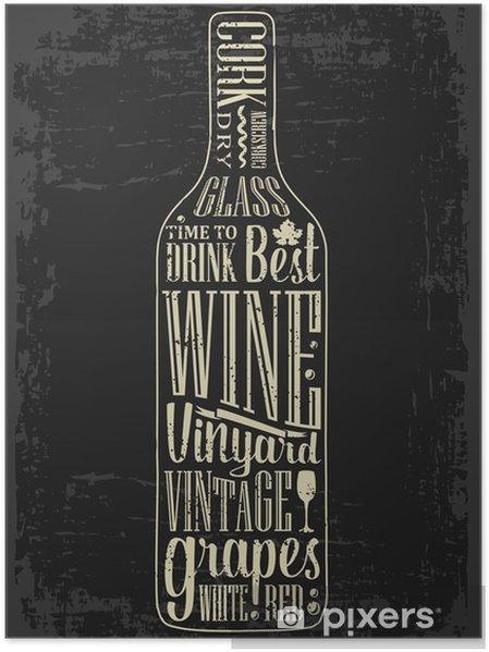 Poster Poster Typographie texte lettrage dans une bouteille de vin silhouette. Vintage gravure illustration vectorielle. Création publicitaire pour pub sur fond sombre - Boissons