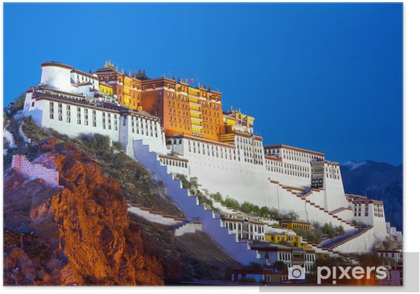 Potala palace at dusk in Lhasa, Tibet Poster - Asia
