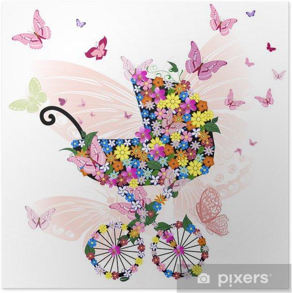 Poster Poussette de fleurs et de papillons - Fleurs