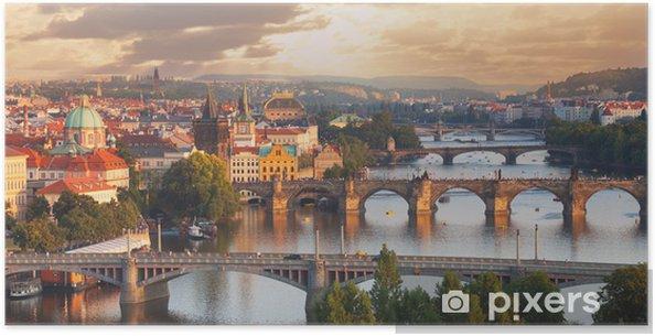 Poster Praag, uitzicht op de rivier de Moldau en bruggen - Praag